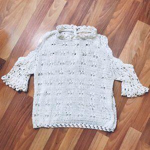 REBECCA TAYLOR White Cotton Crochet Knit Top EUC